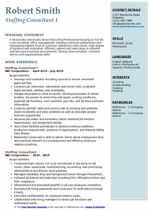 Associate National Recruiter Resume Sample