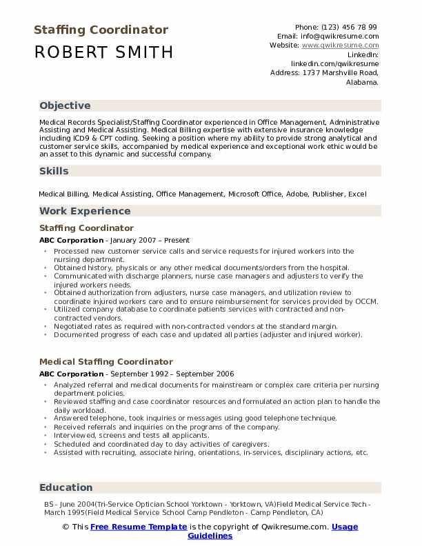 Staffing Coordinator Resume Model