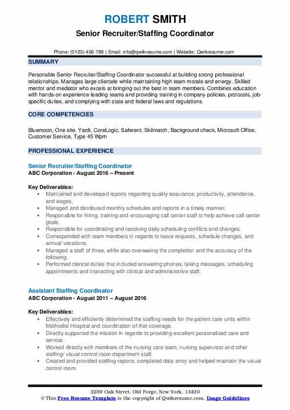 Senior Recruiter/Staffing Coordinator Resume Sample