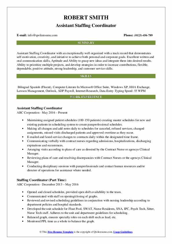 Assistant Staffing Coordinator Resume Sample