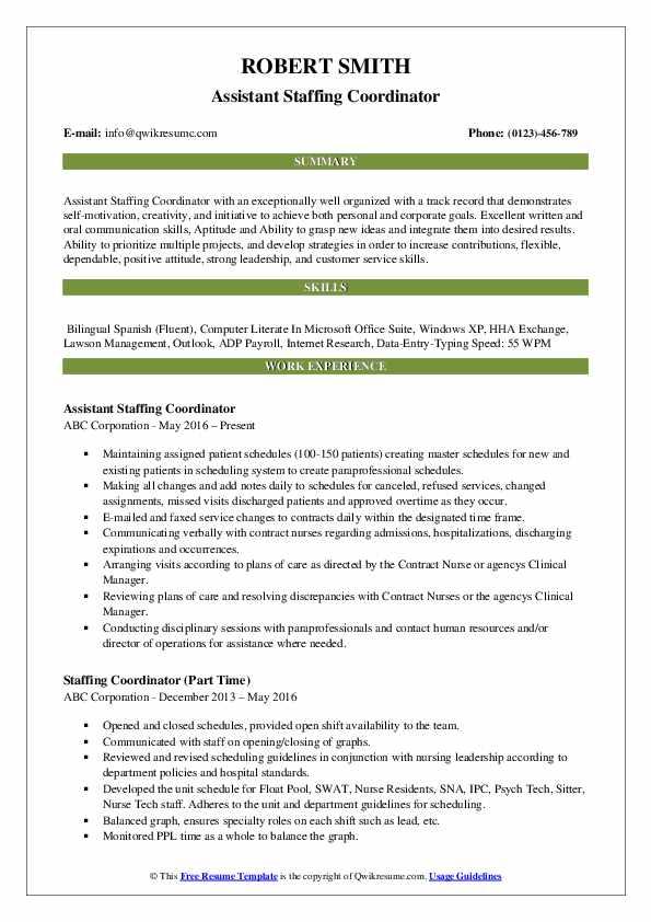 Assistant Staffing Coordinator Resume Template