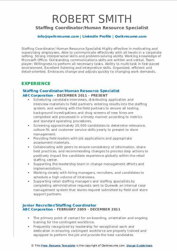 Staffing Coordinator/Human Resource Specialist Resume Model