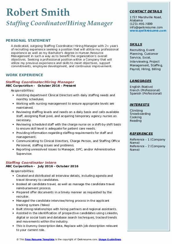 Staffing Coordinator/Hiring Manager Resume Example