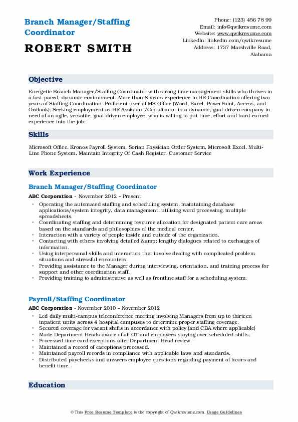 Branch Manager/Staffing Coordinator Resume Sample