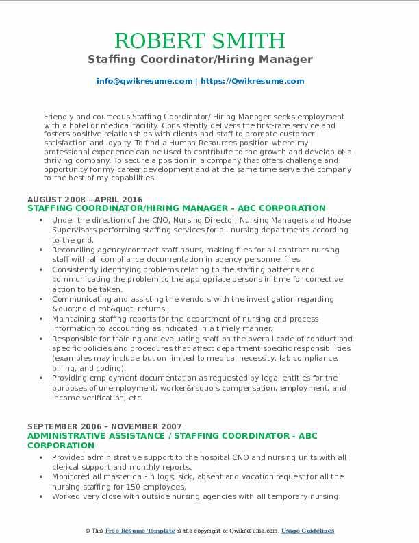 Staffing Coordinator/Hiring Manager Resume Format
