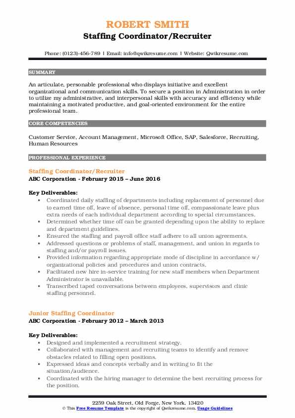 Staffing Coordinator/Recruiter Resume Model