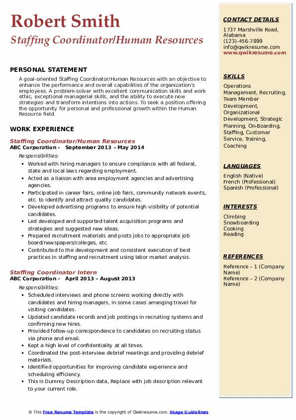 Staffing Coordinator/Human Resources Resume Sample