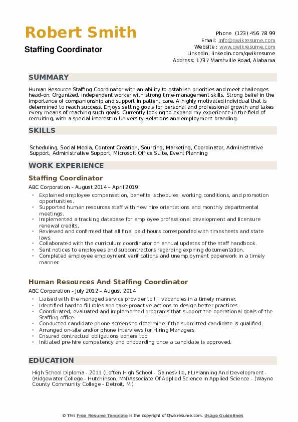 Staffing Coordinator Resume example