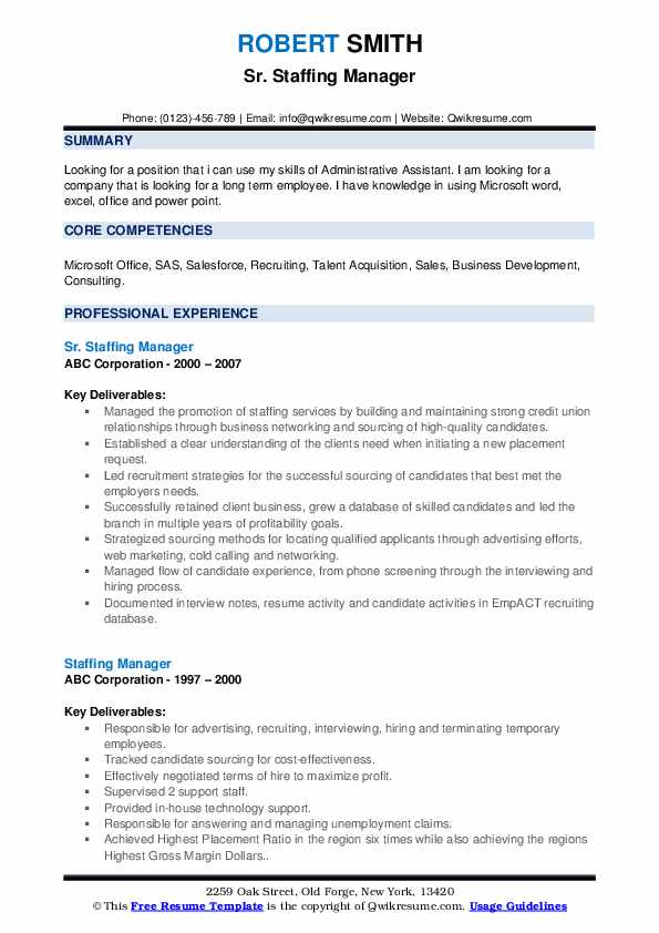 Staffing Manager Resume Samples | QwikResume