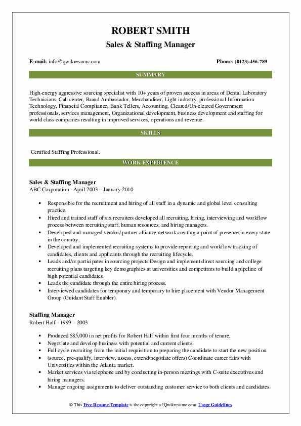 Sales & Staffing Manager Resume Model