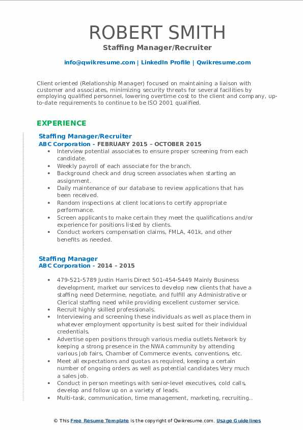 Staffing Manager/Recruiter Resume Sample