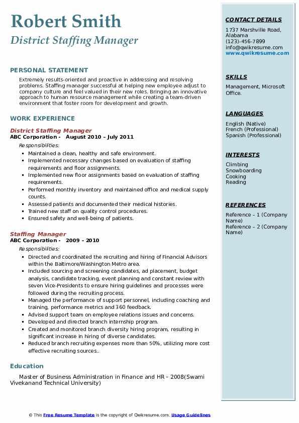 District Staffing Manager Resume Sample
