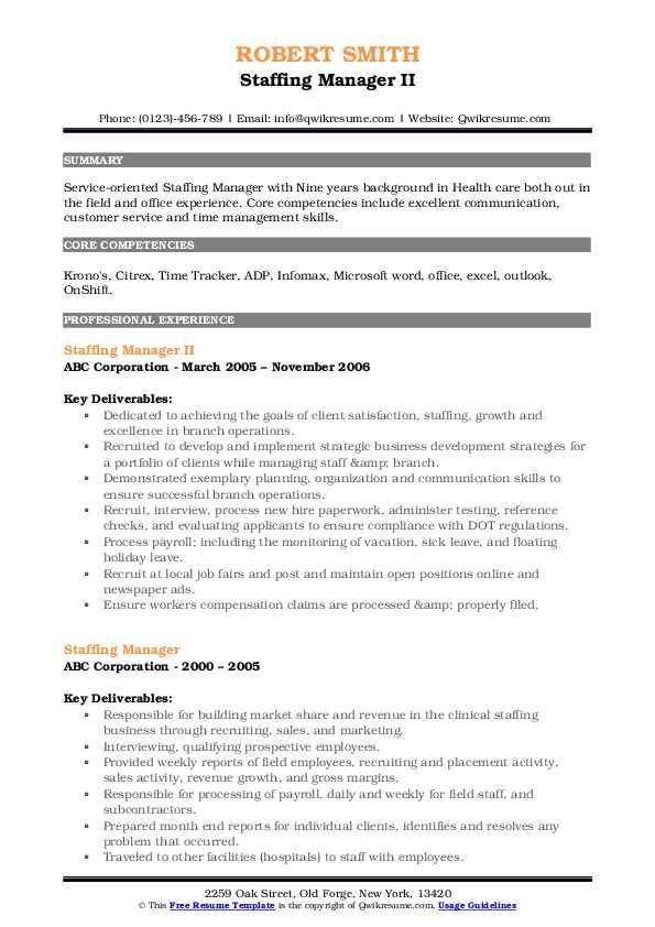 Staffing Manager II Resume Model
