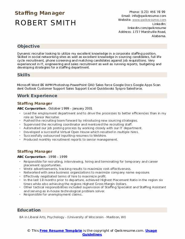 Staffing Manager Resume example