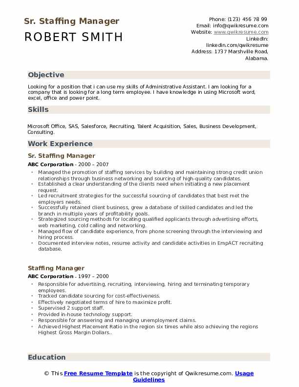 Asst. Staffing Consultant Resume Format