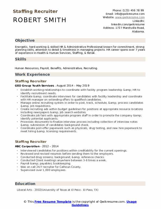 Staffing Recruiter Resume Example