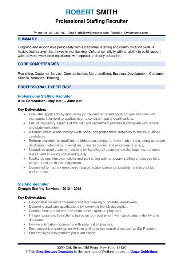 Professional Staffing Recruiter Resume Sample