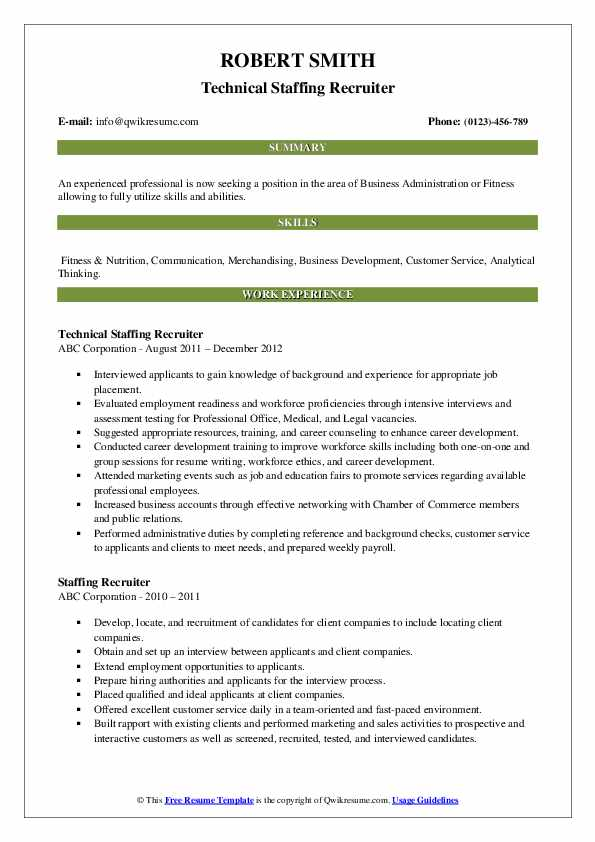 Technical Staffing Recruiter Resume Example