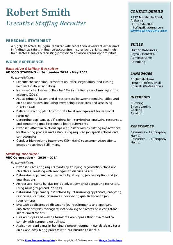 Executive Staffing Recruiter Resume Example