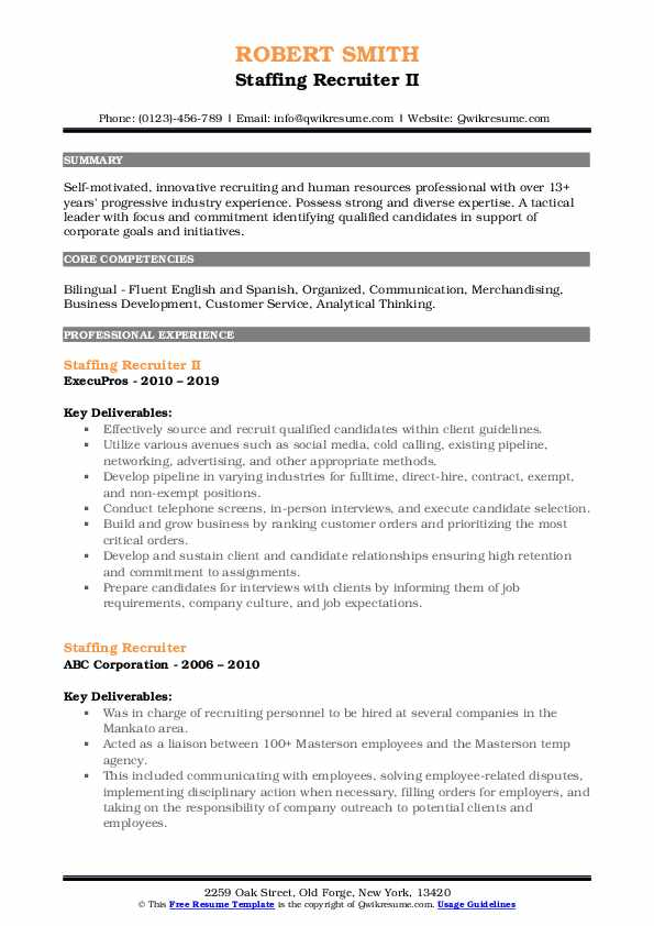 Staffing Recruiter II Resume Template