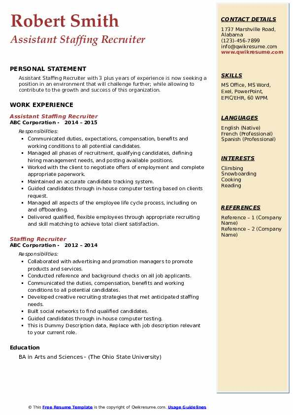 Assistant Staffing Recruiter Resume Template
