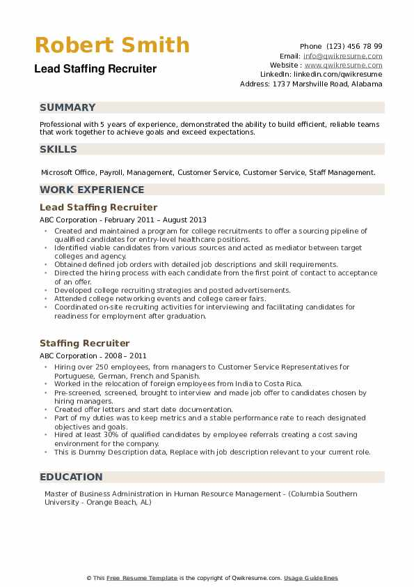 Lead Staffing Recruiter Resume Model