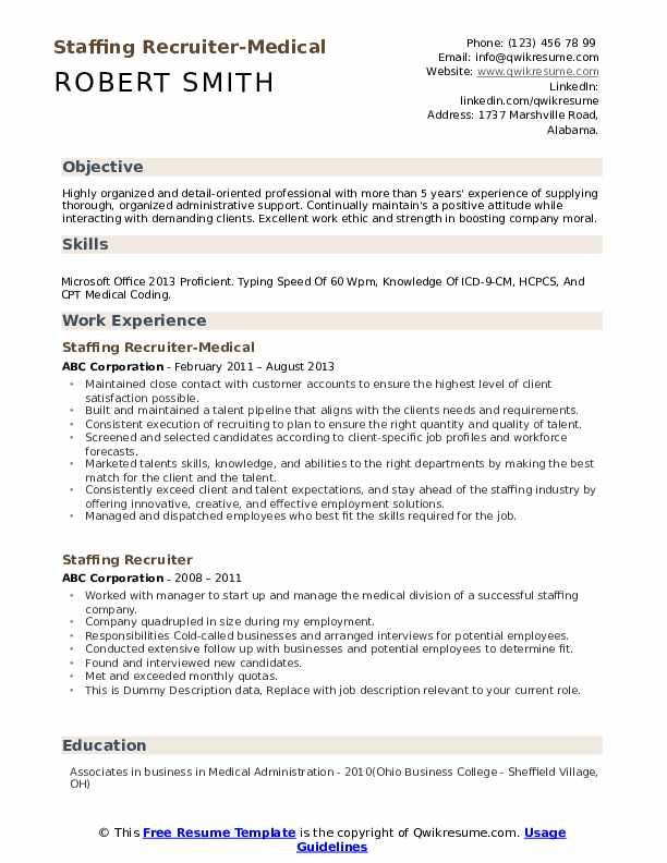 Staffing Recruiter-Medical Resume Sample