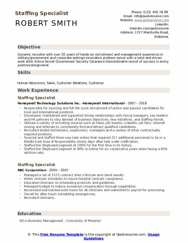 Staffing Specialist Resume Model