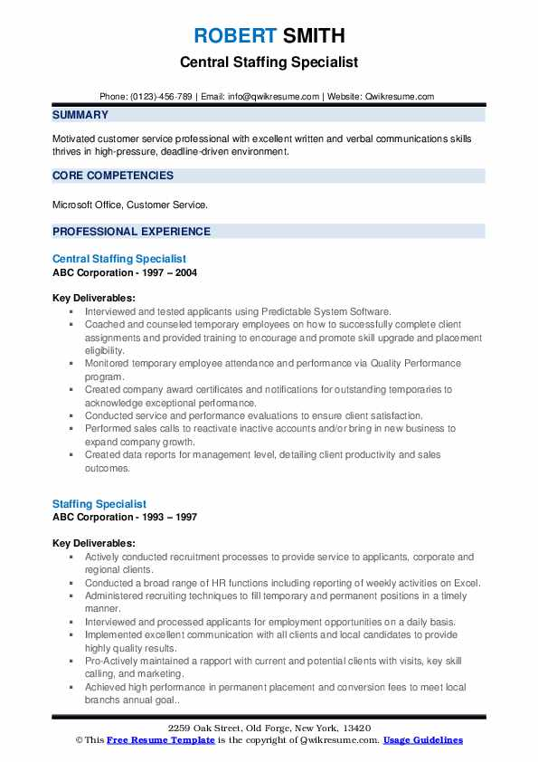 Central Staffing Specialist Resume Model