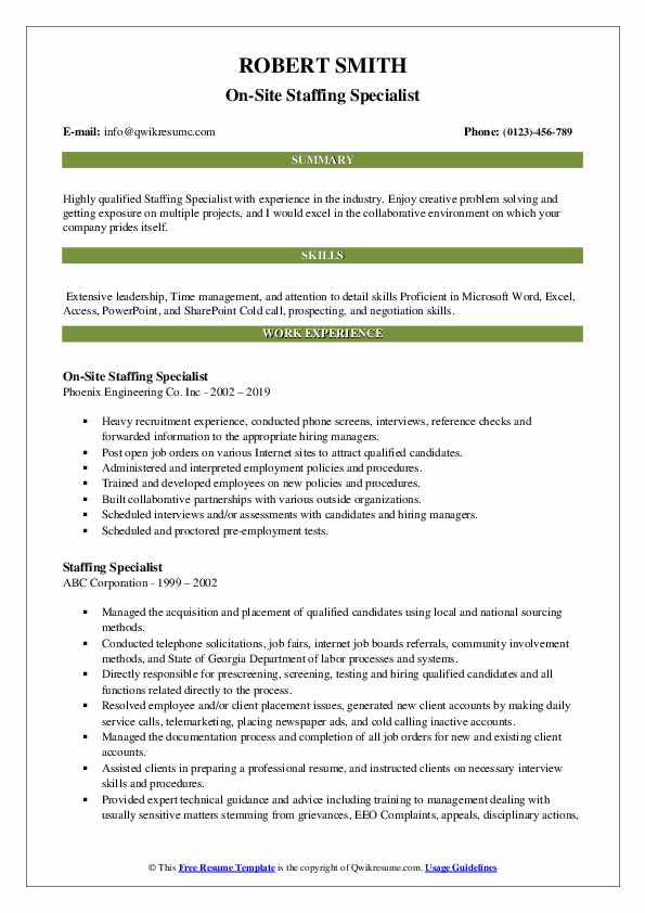 On-Site Staffing Specialist Resume Model