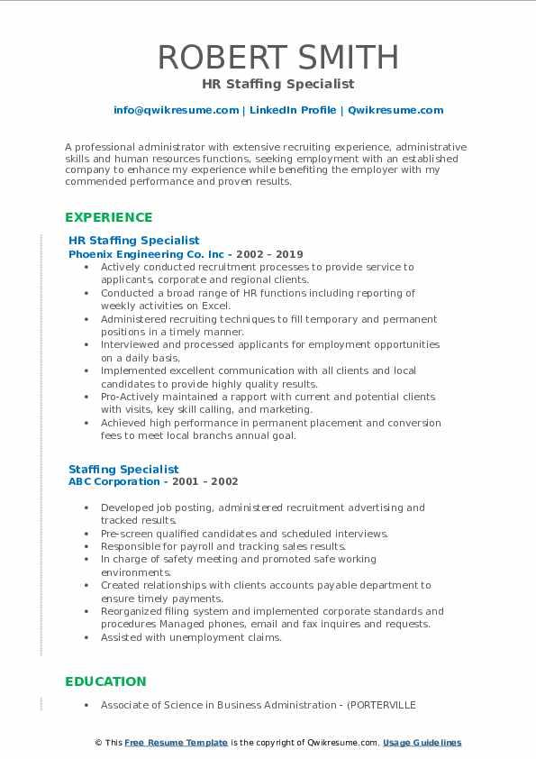 HR Staffing Specialist Resume Format