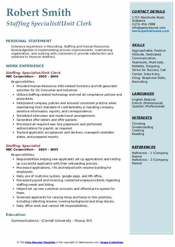 Staffing Specialist/Unit Clerk Resume Model