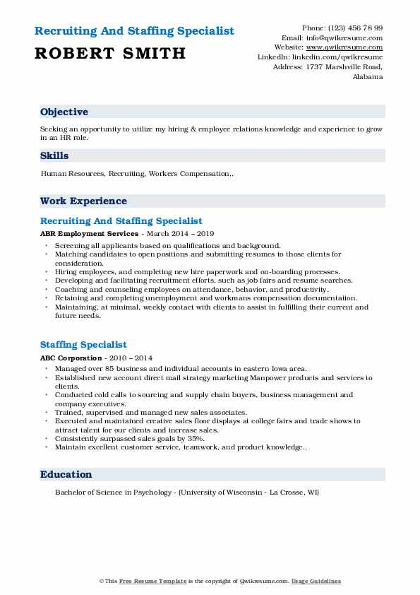 Recruiting And Staffing Specialist Resume Format