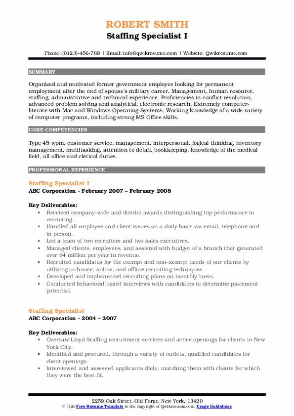 Staffing Specialist I Resume Template
