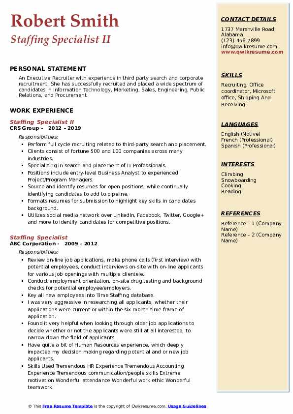 Staffing Specialist II Resume Template