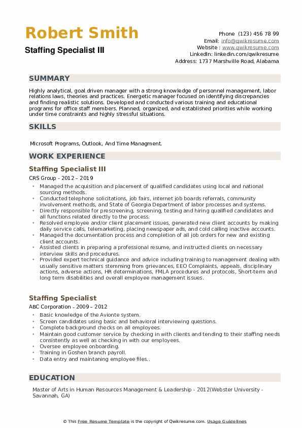 Staffing Specialist III Resume Model