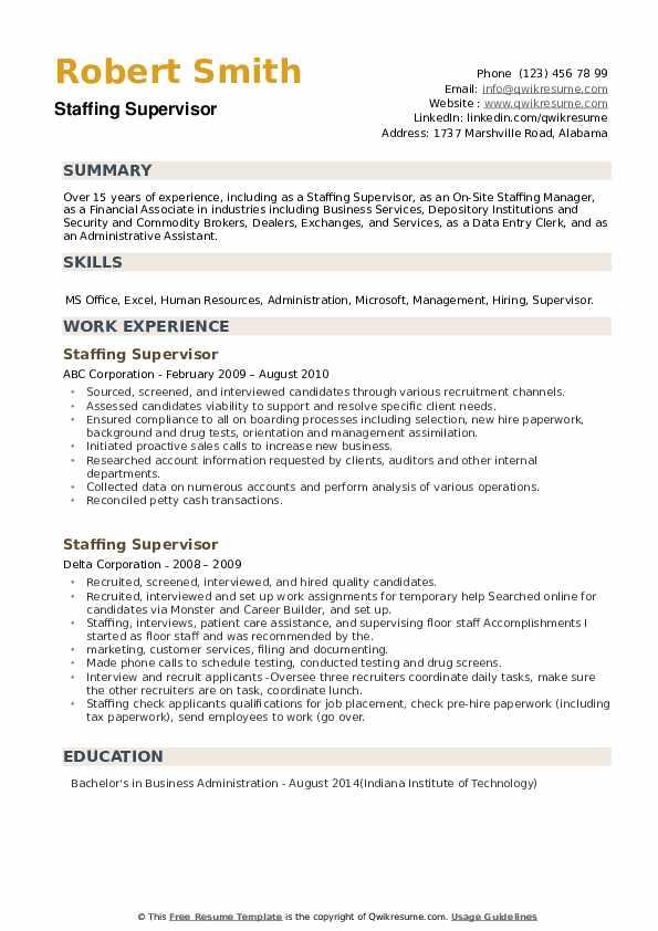 Staffing Supervisor Resume example