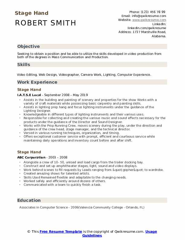 Stage Hand Resume Format