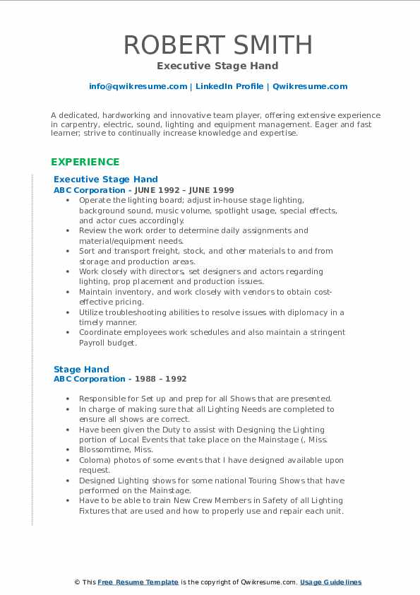 Executive Stage Hand Resume Example