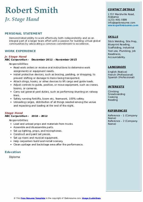 Jr. Stage Hand Resume Sample