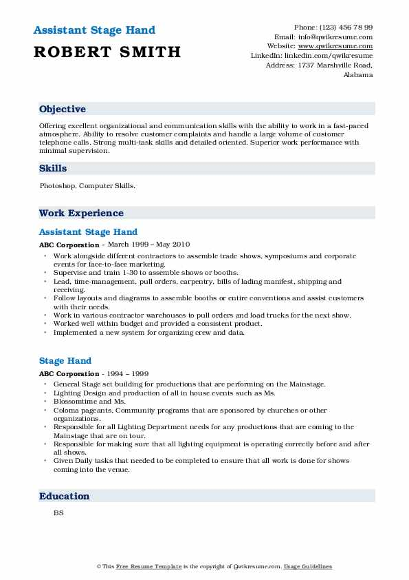 Assistant Stage Hand Resume Example