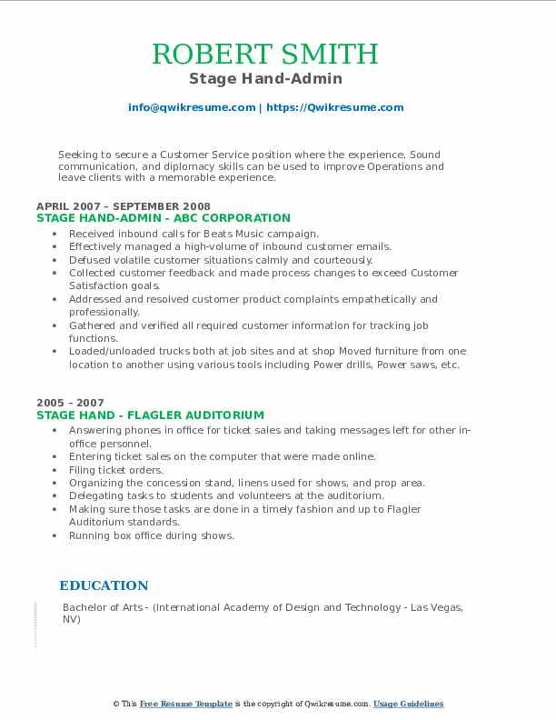 Stage Hand-Admin Resume Model