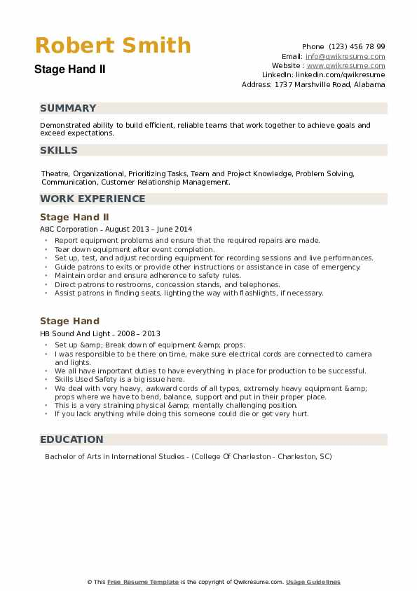 Stage Hand II Resume Format