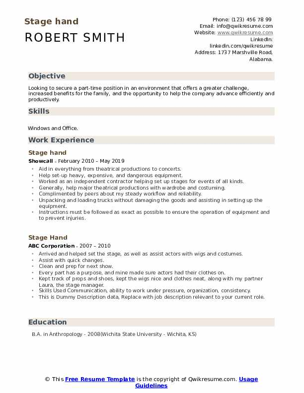 Stage Hand Resume example