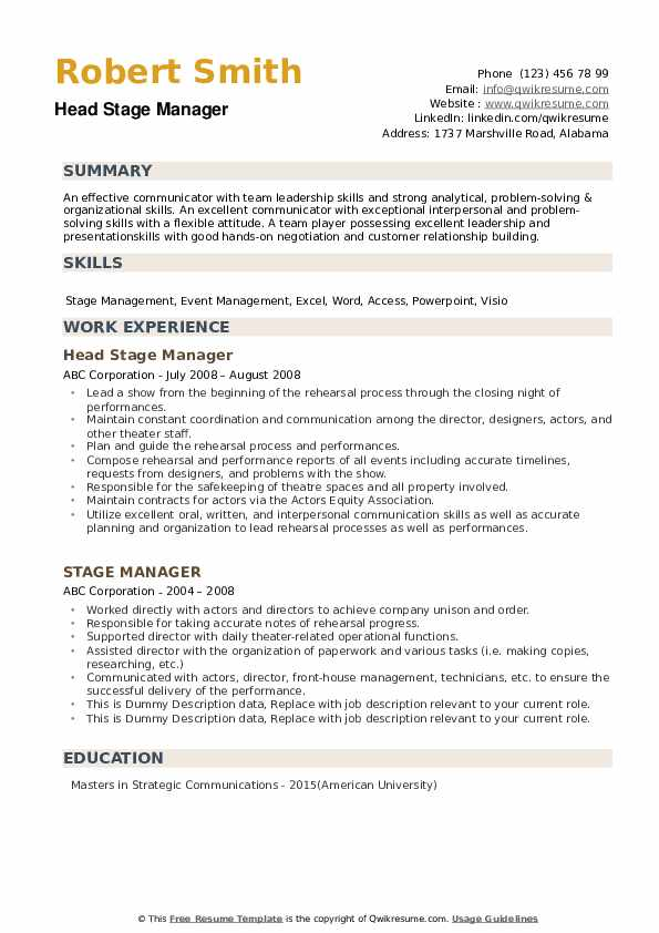 Stage Manager Resume example
