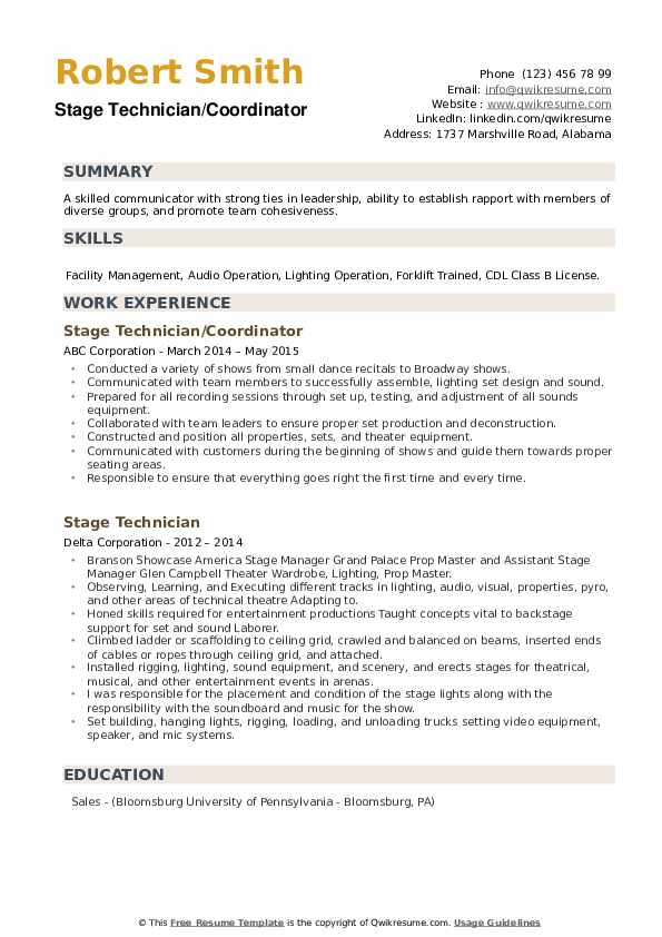 Stage Technician Resume example