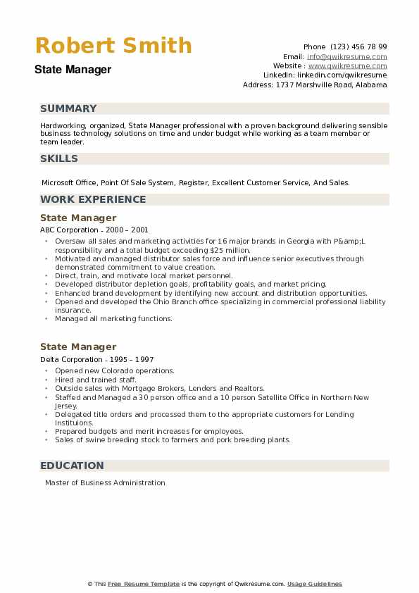 State Manager Resume example