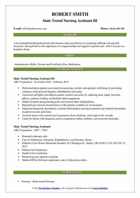 State Tested Nursing Assistant III Resume Model
