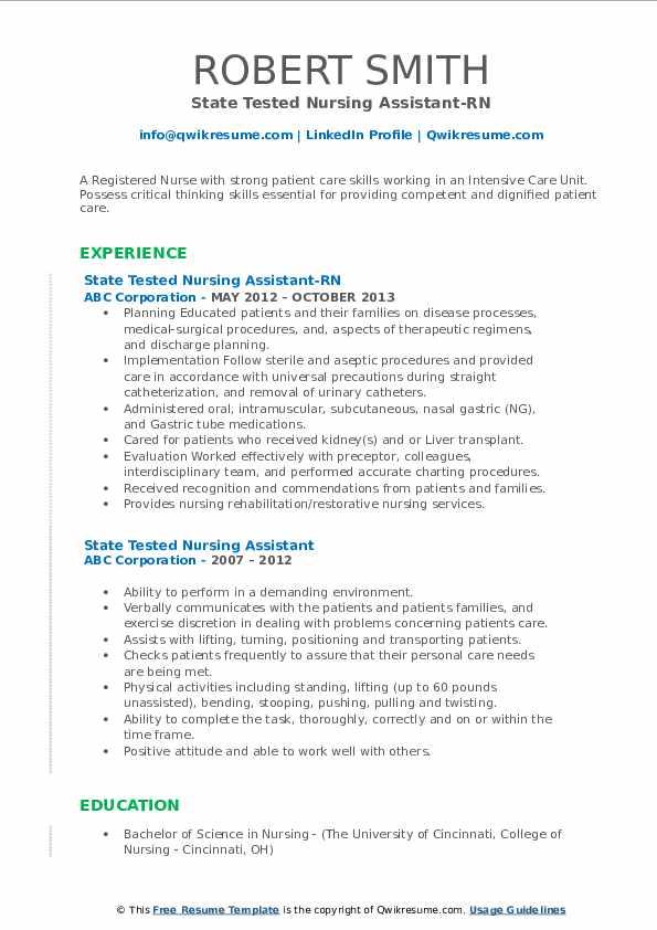 State Tested Nursing Assistant-RN Resume Sample