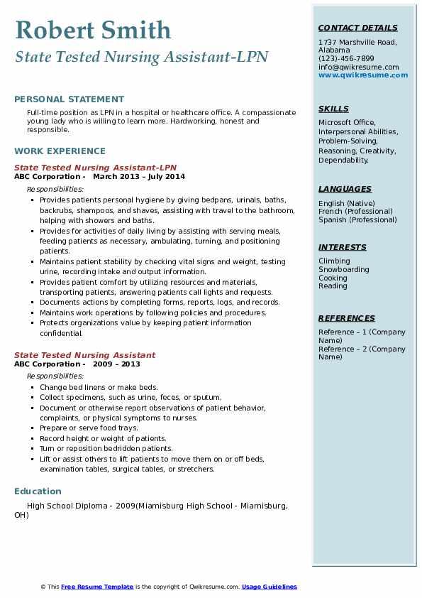 State Tested Nursing Assistant-LPN Resume Template